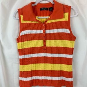 Candy Corn Sweater!  Ribbed sleeveless sweater